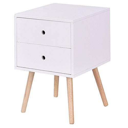 Giantex White Side End Table Nightstand With Drawers Mid-Century Accent Wood Furniture (W/2 Drawers)