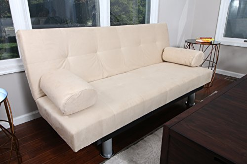 Beige Finish Futon Sofa Bed Klik Klak Microfiber Bed by Coaster Home Life s262