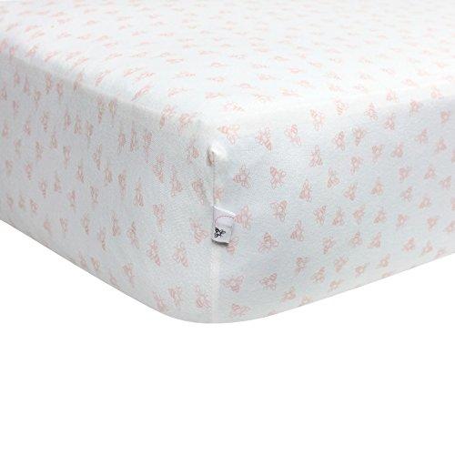 Burt's Bees Baby – Honeybee Print Fitted Crib Sheet, 100% Organic Crib Sheet for Standard Crib and Toddler Mattresses (Blossom)