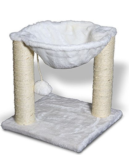 Paws & Pals Cat Tree House with Scratching Post Tower, Hammock Bed and Pet Toy Ball, Multi 2 Level, 16x16x20-Inches – White