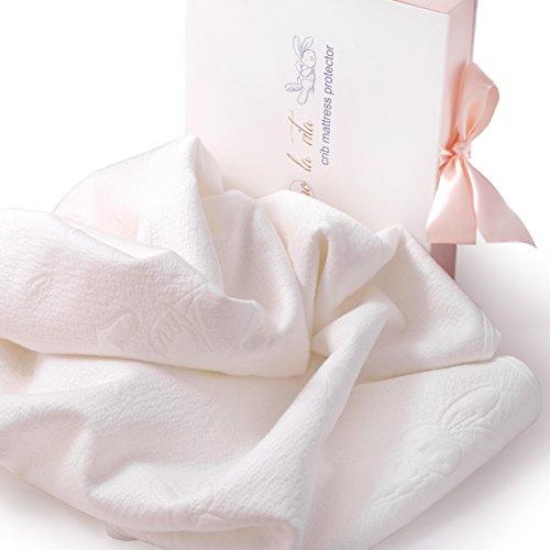 Organic Waterproof Crib Mattress Protector Pad – Rayon from 100% Organic Bamboo – Amo la vita – 52″x28″x10″– Jacquard Fabric with Rabbit Pattern – Ideal Gift for Newborns, Baby Showers– Limited Stock
