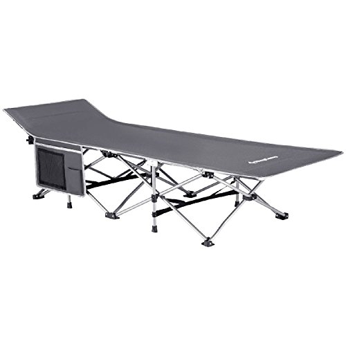 KingCamp Strong Stable Folding Camping Bed Cot with Carry Bag (Grey with Side Pocket)