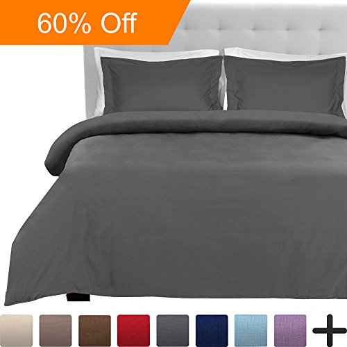 Luxury 3 Piece Duvet Cover and Sham Set – Premium 1800 Ultra-Soft Brushed Microfiber – Hypoallergenic, Easy Care, Wrinkle Resistant (Full/Queen, Grey)