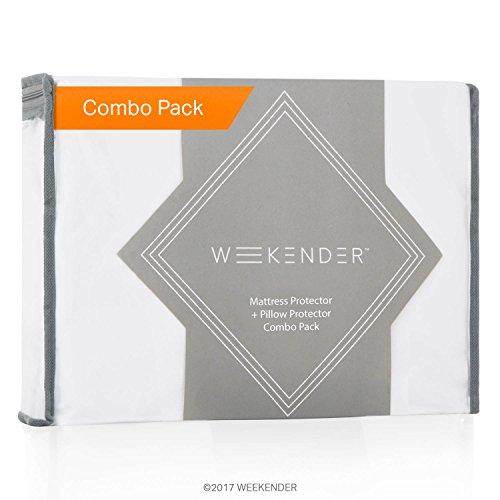 WEEKENDER Combo Pack Hypoallergenic Waterproof Mattress Protector + 2 Pillow Protectors – Premium Bed Protection Set – Queen