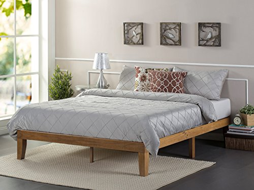 Zinus 12 Inch Wood Platform Bed / No Boxspring Needed / Wood Slat Support / Rustic Pine Finish, Full