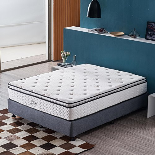 Jacia House 11.4 Inch Pillow Top Memory Foam Innerspring Independently Encased Coil Mattress Twin Full Queen Size CertiPUR-US Foam Enjoy a Softy & Comfy Night's Sleep Guest Beds