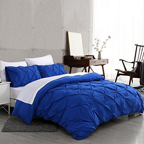 Ucharge Unique Pinch Pleat Pintuck Duvet Cover Set,3 Pieces Decorative Stylish Brushed Microfiber Bedding Set With Zipper and Corner Ties (King Blue)