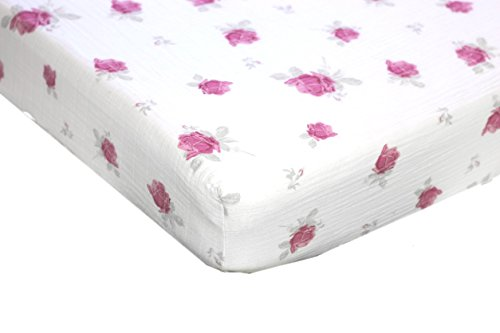 Crib Sheets – Ultra Soft – by Margaux & May – 100% Muslin Cotton with pink flowers, great gift for girls – Fits Standard Mattress for Babies and Toddlers
