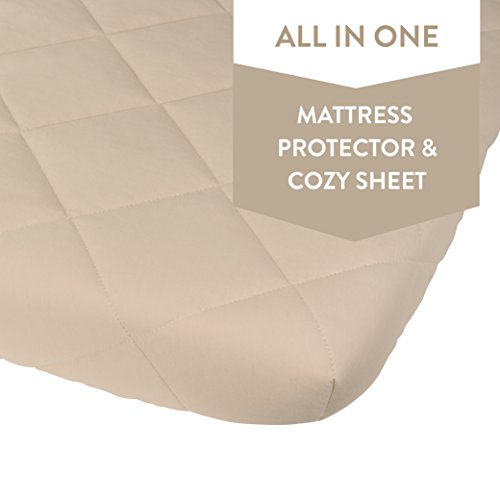 Waterproof Cotton Quilted Pack n Play Mattress Cover | Mini Crib Mattress Cover | All in one Mattress Pad Cover and Cozy Pack n Play Sheet Hypoallergenic, Cream by Ely's & Co