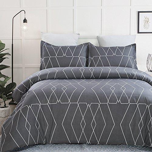 Vaulia Lightweight Microfiber Duvet Cover Sets, Printed Pattern Design, Dark Grey – Queen Size