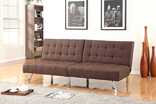 Chocolate Brown Linen With Split Back Adjustable Klik Klak Sofa Futon Bed Sleeper Convertible Quality 275brown_19 77″ Wide