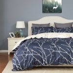 Duvet Cover Set with Zipper Closure-Branch and Plum Blue Printed Pattern,Full/Queen (90″x90″)-3 Piece (1 Duvet Cover + 2 Pillow Shams)-110 gsm Ultra Soft Hypoallergenic Microfiber by Bedsure