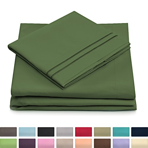 Cosy House 1500 Luxury 4-Pc Bed Sheets Set – Wrinkle Resistant & Hypoallergenic, Silky Soft Brushed Microfiber Includes Extra Deep Pocket Fitted Sheet, Flat Sheet, + 2 Pillowcases – Full, Olive Green