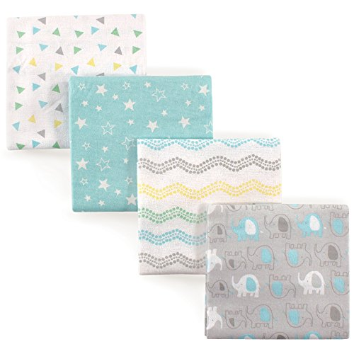Luvable Friends 4 Piece Flannel Receiving Blanket, Gray Elephant, One Size