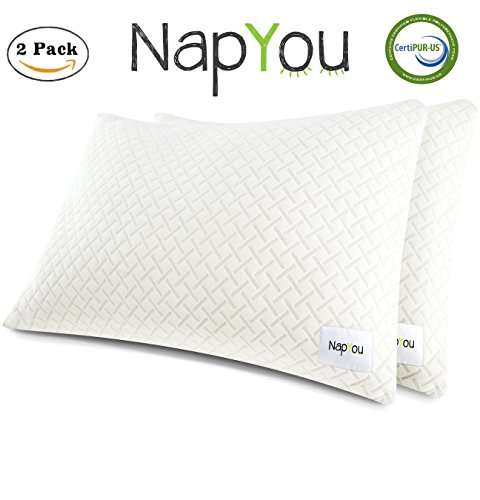 NapYou OFFICIAL Amazon Exclusive (2 Pack Queen) Shredded Certipur Memory Foam Pillow with Unique and Luxury Pillow Cover Design for Ultimate Breathability and Density made with Organic Cotton