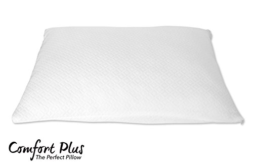 Premium Shredded Memory Foam Pillow by Comfort Plus | | Designed Breathable & Cool | Hypoallergenic Machine Washable Bamboo Protective Case | Helps Reduce & Alleviate Neck Pain | Full Warranty (Queen)