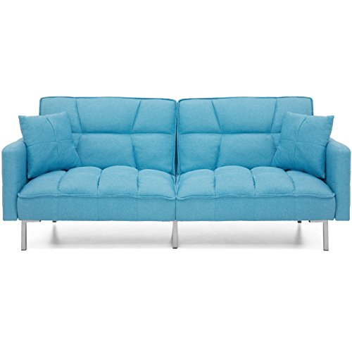 Best Choice Products Home Furniture Convertible Linen Tufted Splitback Futon Couch W/ Pillows (Blue)