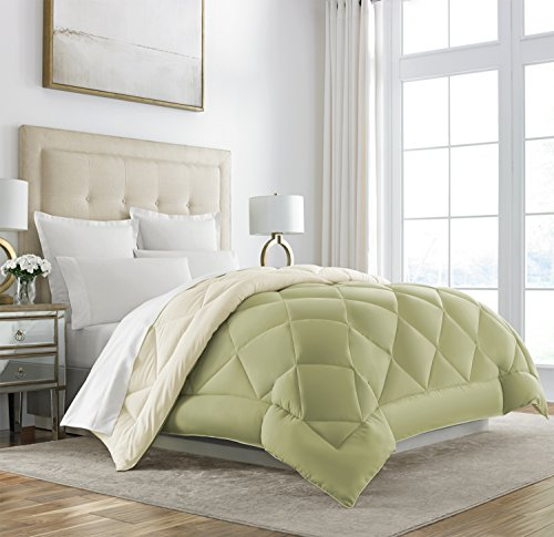 Sleep Restoration Goose Down Alternative Comforter – Reversible – All Season Hotel Quality Luxury Hypoallergenic Comforter -King/Cal King – Sage/Ivory