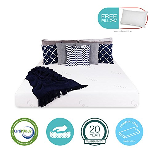 8″ inch COOL & GEL Memory Foam Mattress – Triple-Layered – Certipur-US Certified – Medium Firm – 20-Year Warranty – Full – with FREE PILLOW