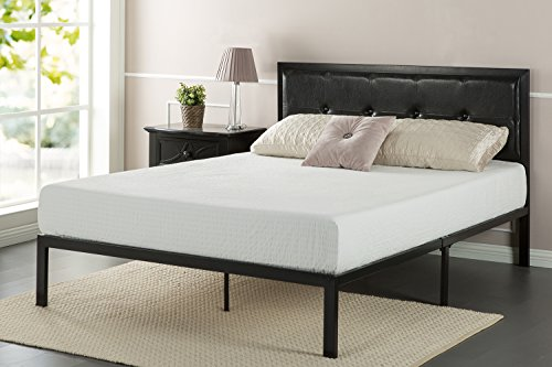 Zinus Faux Leather Classic Platform Bed Frame with Steel Support Slats, Twin