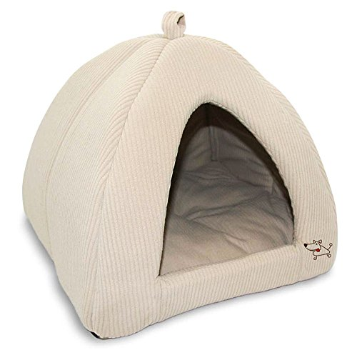 Best Pet Supplies Corduroy Tent Bed for Pets, Beige – X-Large