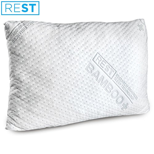 REST Home Collections Premium Bamboo Pillow, Made with Eco-Cool Removable Cover and Custom Comfort Blended Memory Foam, Hancrafted in the USA – QUEEN