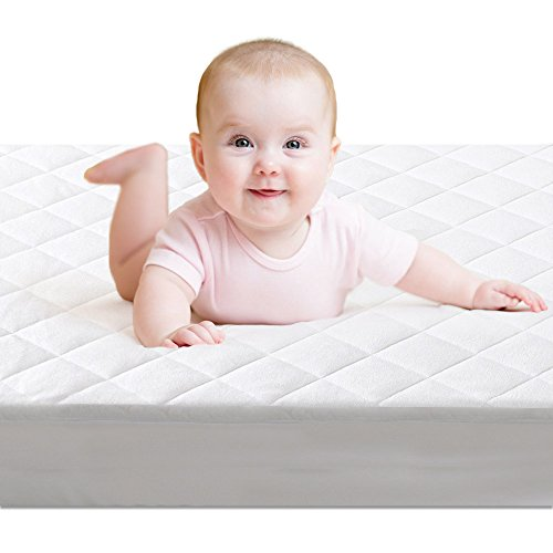 Crib Mattress Protector,BROLEX Baby Crib Mattress Cover,White Terry Quilted,Safety Padded ,Breathable, Ultra Absorbent, Fitted Sheet Style