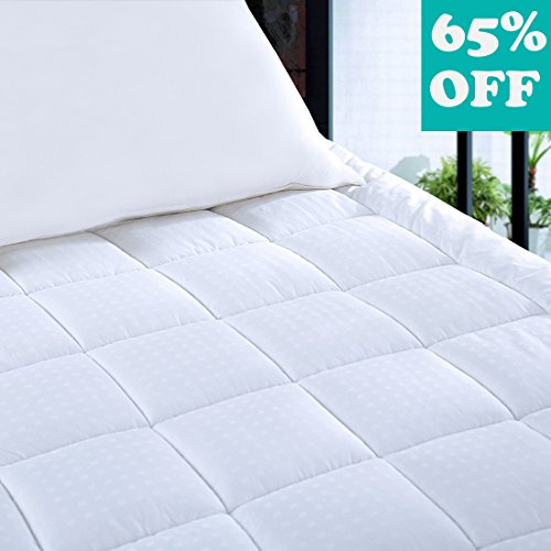 Mattress Pad Cover with 18″ Deep Pocket 300TC Cotton Down Mattress Topper for Queen Beds by BLC (Down Alternative, Queen)
