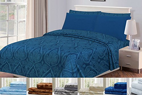 6 Piece: Paisley Printed Bed Sheet Set 1800 Count Egyptian Quality HOTEL LUXURY Flat Sheet,Fitted Sheet with 4 Pillow Cases,Deep Pockets, Soft Extremely Durable by Lux Decor (Full, NAVY BLUE)