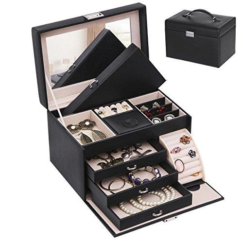 BEWISHOME Travel Jewelry Box Organizer Case Display Storage Mini Travel Case Mirrored Black PU Leather for Girls Women SSH52B