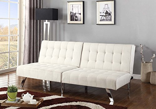 Light Beige Linen With Split Back Adjustable Klik Klak Sofa Futon Bed Sleeper Convertible Quality 275beige 77″ Wide