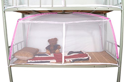 Mily Folding Mosquito Net for Students Dormitory Beds Bunk Beds Bedroom Decor 190X90X100 cm White with Pink Edge