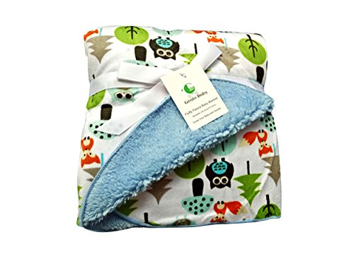 Sherpa Fleece Baby Blanket Unisex 30 x 40 Soft- Perfect For Swaddling and Strolling- Fluffy For Boys and Girls By Genio Baby (Blue)