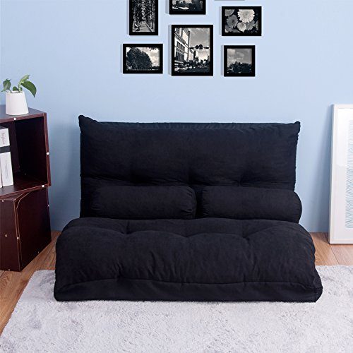 Merax Sofa Bed Adjustable Folding Futon Sofa Video Gaming Sofa Lounge Sofa with Two Pillows (black)