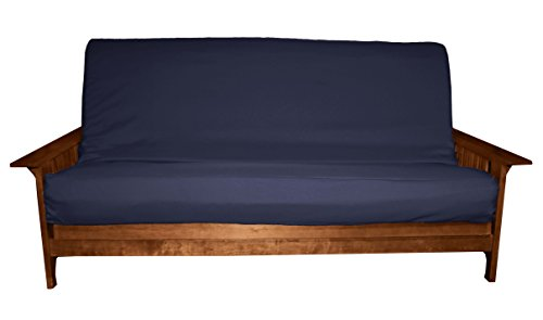 Epic Furnishings Better Fit Machine Washable Upholstery Grade Futon Cover , Queen 6-Inch-size, Twill Navy Blue