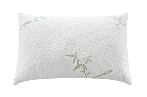 Alveo Premium Quality Shredded Memory Foam Pillow with a Removable Washable Soft Zip Bamboo Fiber Cover – Assorted Sizes and Luxury Design-King