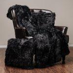 Chanasya Super Soft Long Shaggy Chic Fuzzy Fur Faux Fur Warm Elegant Cozy With Fluffy Sherpa Black Throw Blanket (50″ x 65″) & two Pillow Covers ( 18″x 18″) Set