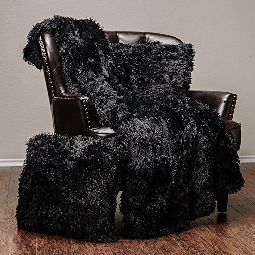 Chanasya Super Soft Long Shaggy Chic Fuzzy Fur Faux Fur Warm Elegant Cozy With Fluffy Sherpa Black Throw Blanket (50″ x 65″) & two Pillow Covers ( 18″x 18″) Set