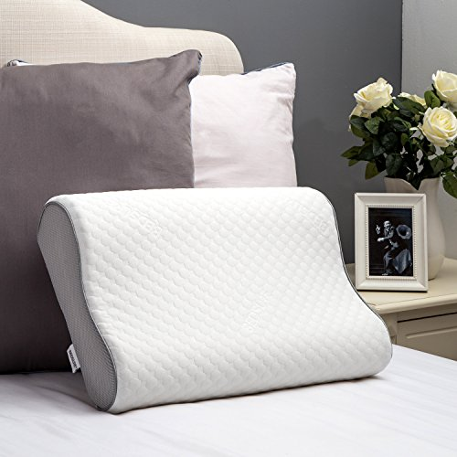 Sleep Memory Foam Contour Pillow Therapeutic Relief Hypoallergenic Dust Mite Standard Pillow Resistant Washable Cover by Bedsure