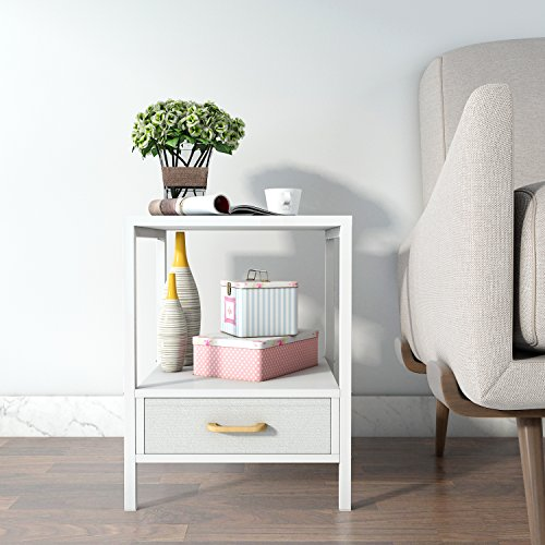 Lifewit 2-tier Square Side Nightstand / End Table / Coffee Table With Drawer, White