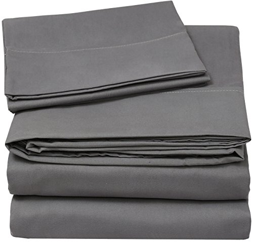 Utopia Bedding Soft Brushed Microfiber Wrinkle Fade and Stain Resistant 3-Piece Twin Bed Sheet Set – Grey