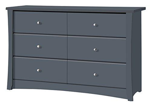 Storkcraft Crescent 6 Drawer Dresser, Grey