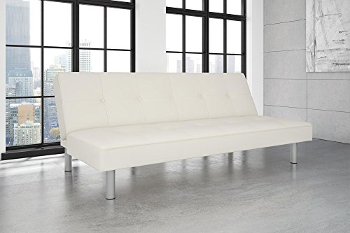 DHP NOLA Futon, White Faux Leather