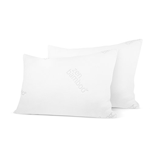 Zen Bamboo Ultra Plush Gel Pillow – (2 Pack Queen) Premium Gel Fiber Pillow with Cool & Breathable Bamboo Cover – Dust Mite Resistant & Hypoallergenic