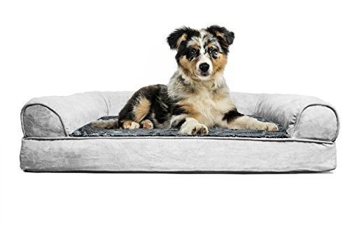 FurHaven Medium Plush & Suede Orthopedic Sofa Pet Bed for Dogs and Cats, Gray