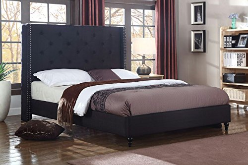 Home Life Premiere Classics Cloth Black Linen 51″ Tall Headboard Platform Bed with Slats Full – Complete Bed 5 Year Warranty Included 007