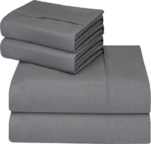 Utopia Bedding 4-Piece Full Bed Sheet Set – Soft Brushed Microfiber Wrinkle Fade and Stain Resistant – Grey