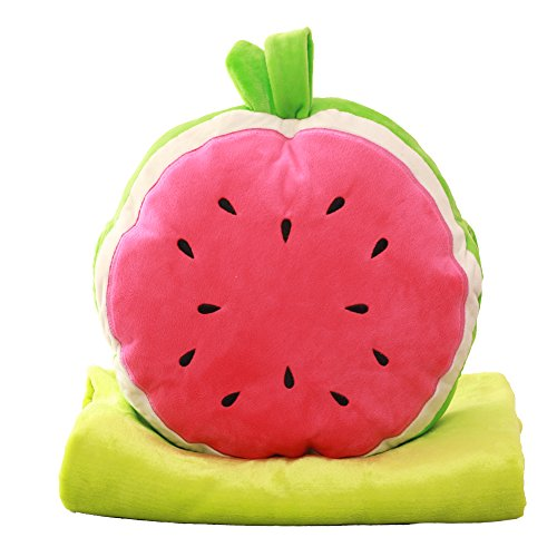 Pillow Blanket, Botitu 2 in 1 Multifunctional Plush Travel Blanket for Kids, Adults and Air Conditioning Office Workers(watermelon)