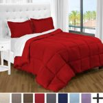 Ultra-Soft Premium 1800 Series Goose Down Alternative Comforter Set – Hypoallergenic – All Season – Plush Siliconized Fiberfill (Full/Queen, Red)