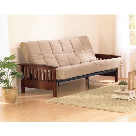 Better Homes and Gardens Neo Mission Futon, Brown. Solid Wood Arm Futon With Walnut Finish.